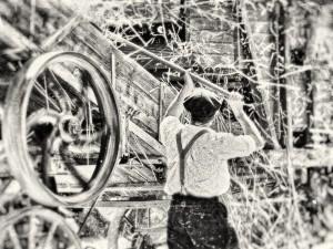 photo photographie noir et blanc battage à la ferme photographie Serge Decoster photos feux d'artifice